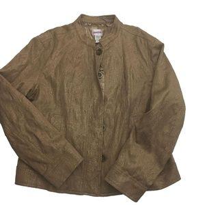 NWT Chico's Bronze Jacquard Blazer Jacket Size 2